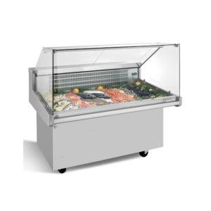Vitrina expositora refrigerada carro para pescado